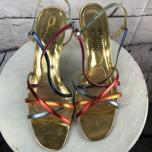 Timothy Hitsman gold heels bright colored straps